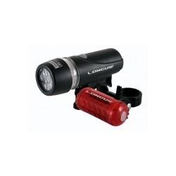 Svetlo predné 5LED/4f + zadné 5LED/5f + batérie, čierne